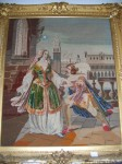Antique Victorian Needle Point Tapestry of Romeo and Juliet