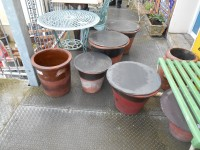Antique Terracotta Buckley Pots and Slate Lids