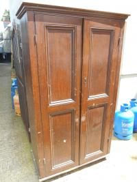Antique Victorian Scumbled Pine Linen Cupboard