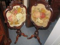Antique Pair Rosewood Pole Screens