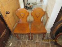 Pair Of Victorian Oak Shield Chairs