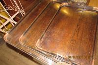 EDWARDIAN  OAK & COPPER TRAYS
