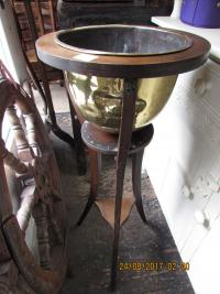 BRASS JARDINERE ON  STAND