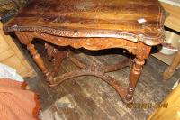 ITALIAN WALNUT ANTIQUE  CARVED  SIDE  TABLE