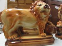 PAIR STAFFORDSHIRE LIONS