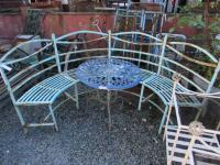 Metal semi-circular bench